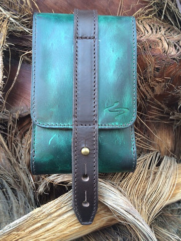 Turquoise Leather Piatto Phone Holster