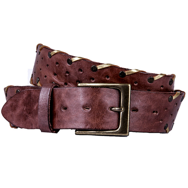 Bordo Curved Handmade Leather Belt - Burnished Brown with Gold Lacing