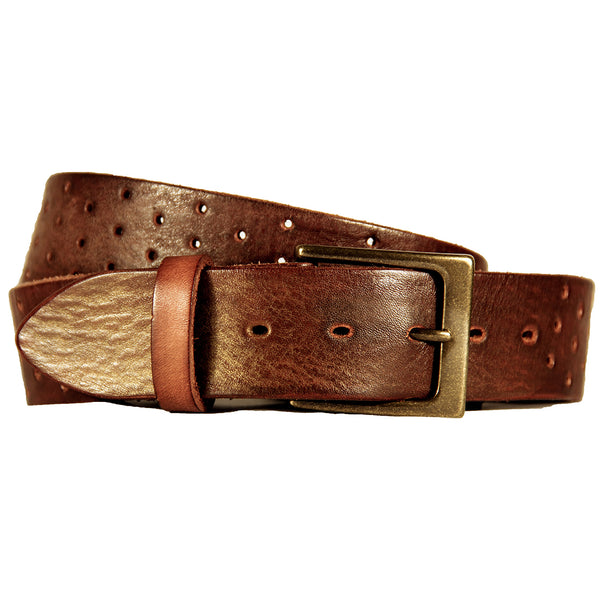 Perforata Curved Handmade Leather Belt - Dark Brown with Gold Tip