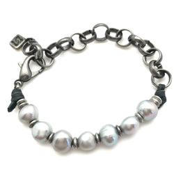 <b>ADIRA</b> Baroque Pearl and Rolo Chain Bracelet