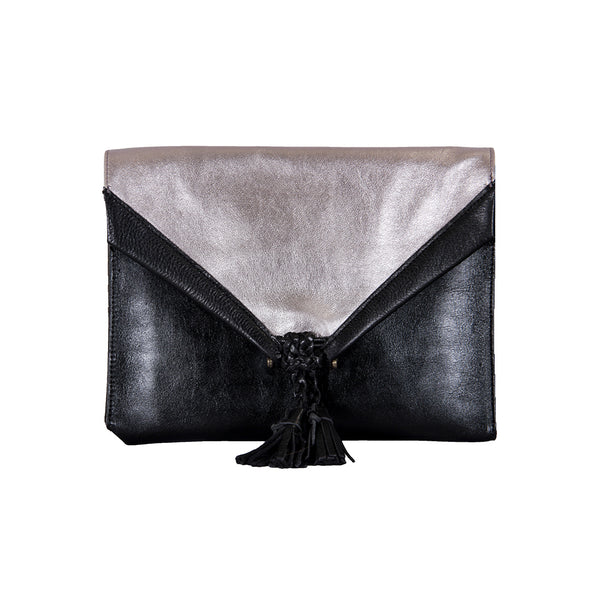 Savannah Leather Envelope Clutch and Crossbody Purse - Black/Silver