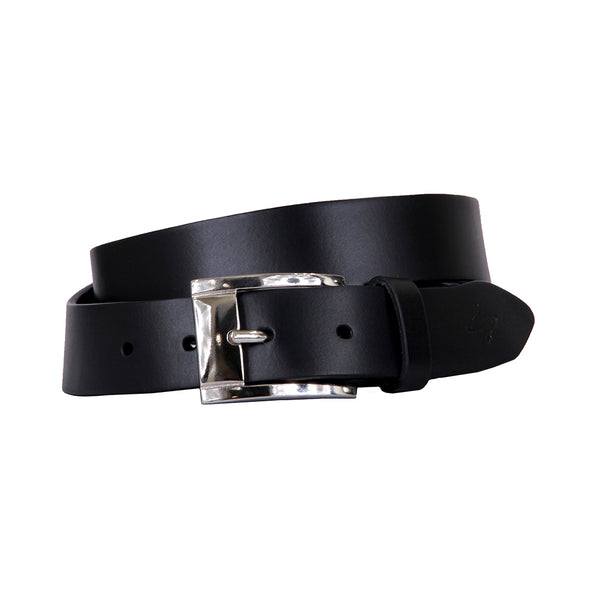 Curva Handmade Genuine Leather Belt - Black with Nickel