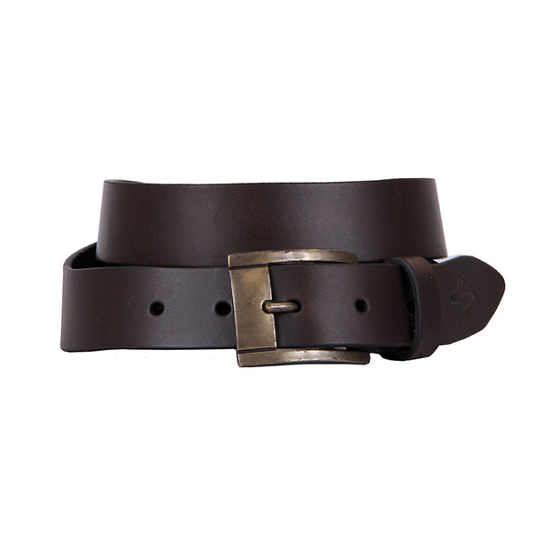 Curva Handmade Genuine Leather Belt - Coffee with Antique Brass
