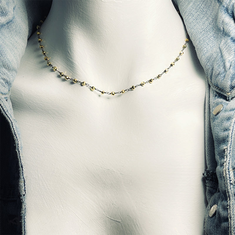 "<b>EMILY 16</b> Pyrite Rosary Chain 16"" Princess Necklace"