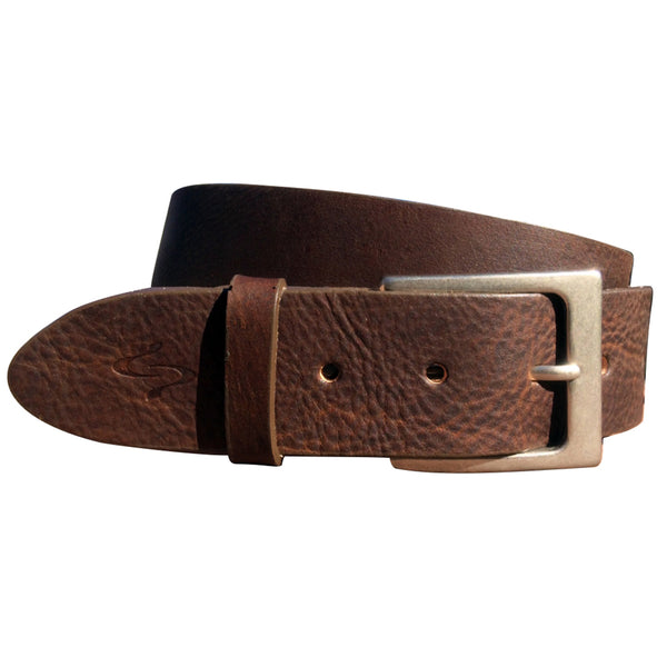 Lato Curved Handmade Leather Belt - Walnut Brown