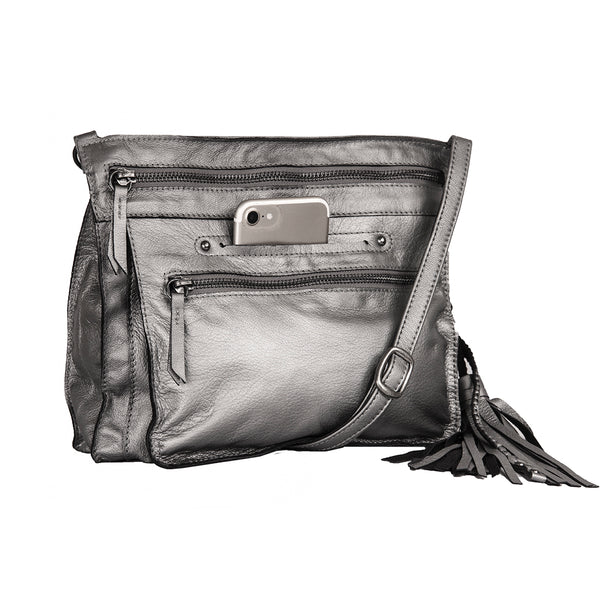 Media Lightweight Leather Crossbody Bag - Silver Metallic