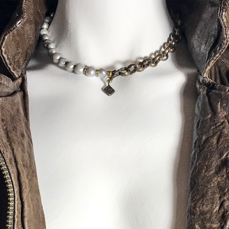 Bronze and Baroque Pearl Princess Necklace