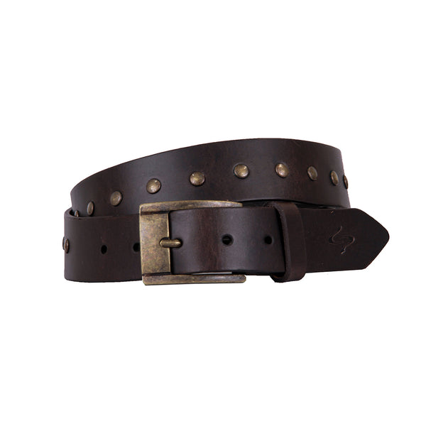 Rivetti Curved Handmade Leather Belt - Coffee with Antique Brass