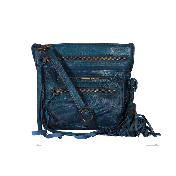 Stretta Small Leather Crossbody and Belt Hip Bag - Vintage Distressed Teal