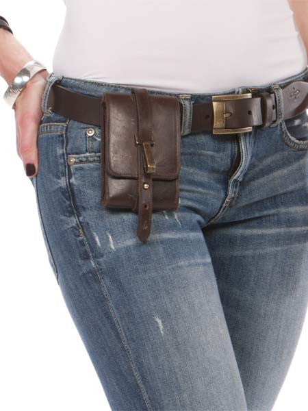 Curva Genuine Leather Belt & Classico Handmade Leather Satchelita Phone Holster with Connector & Thigh Strap
