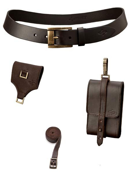 Coffee - Curva Leather Belt & Classico Leather Satchelita Phone Case with Connector & Thigh Strap