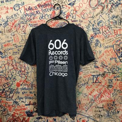 606 Records T-Shirt (White On Navy)