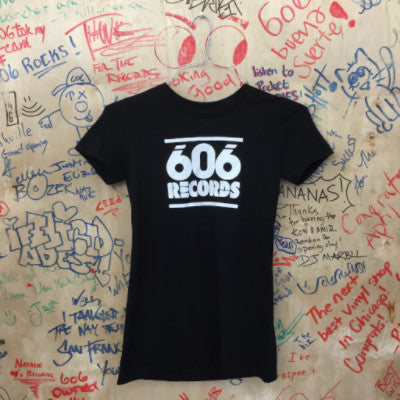 606 Records Baby Doll Tee (White On Black)