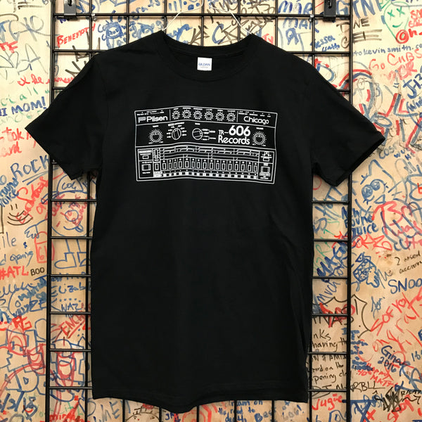 606 Records - Drum Machine Shirt (White On Black)