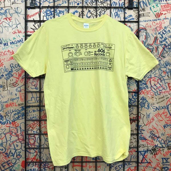606 Records - Drum Machine Shirt (Black On Yellow)