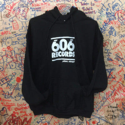 606 Records Hoodie (White on Black)