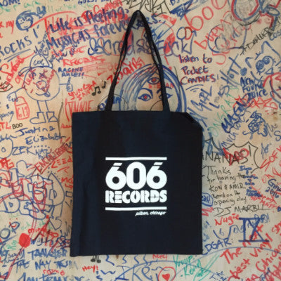 606 Records Tote (White On Black)