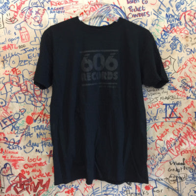 606 Records T-Shirt (Black on Black)