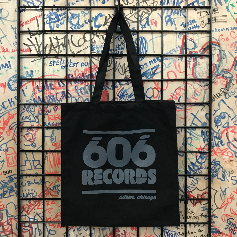 606 Records Tote (Grey On Black)
