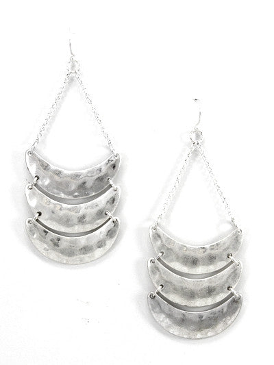 Silver 3 Layer Rusted Dangle Earrings
