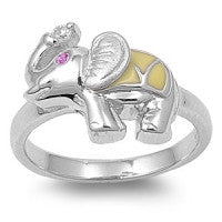 Sterling Silver Elephant CZ Ring