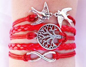 Multilayer Love Birds Life Tree and Infinity Handmade Leather Bracelet