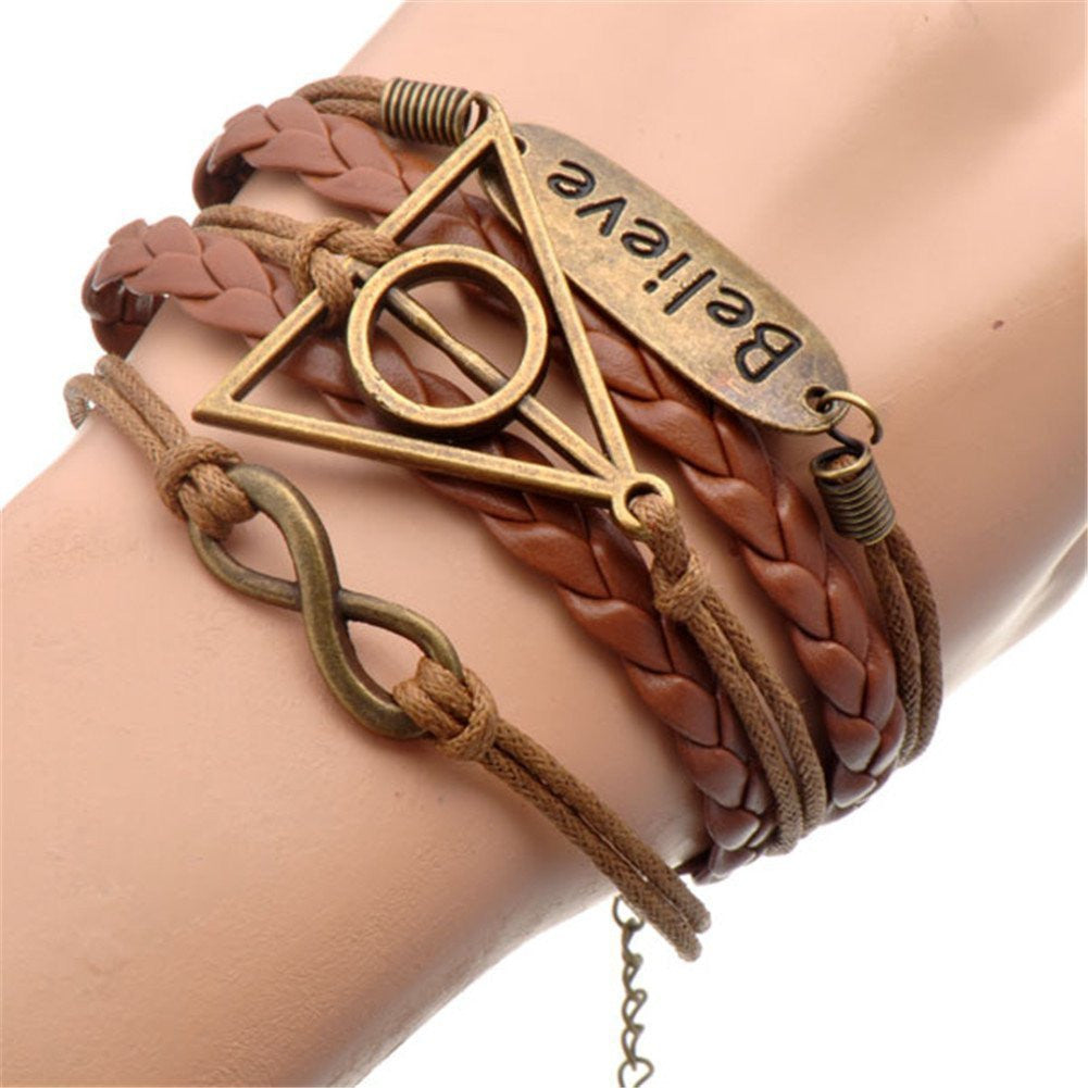 Resurrection Stone Believe Bracelet Multilayer Handmade Leather Colorful Charm Bracelets