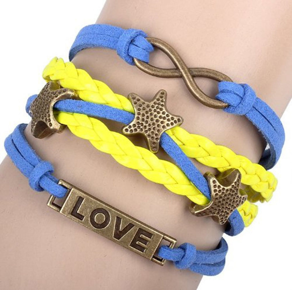 Love Star Infinity Bracelet Gold Color Blue Yellow Wax Cords Leather Braid Bracelet