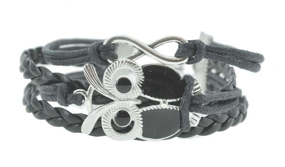 European Style Womens Infinity Owl Leather Silver Charm Bracelet