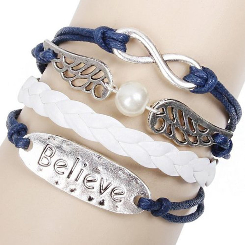 Believe Wings Infinity Bracelet Silver Color White and Blue Wax Cords Leather Braid Bracelet