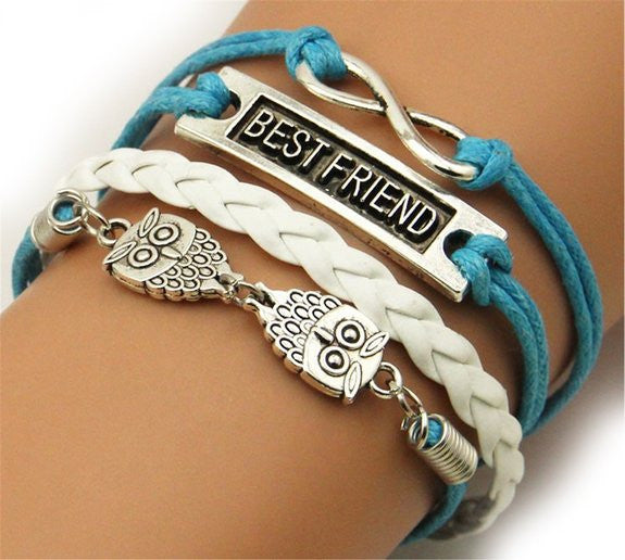 Owl Infinity Best Friend Silver Color Blue White Wax Cords Leather Braid Leather Bracelet