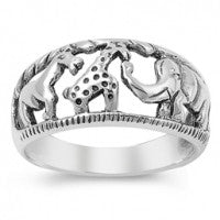 Sterling Silver Zoo Animals Ring