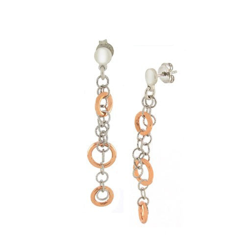 Silver Rolo Dangling Rose Gold Circles Earring
