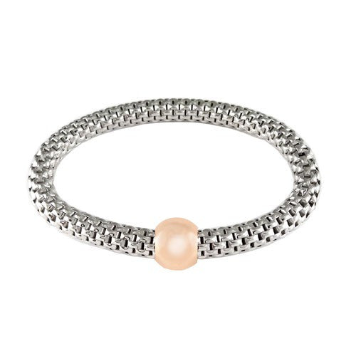 Sterling Silver Rose Tone Ball Stretchable Bracelet