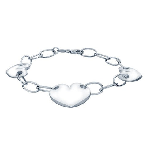 Sterling Silver 3 Polished Hearts Bracelet