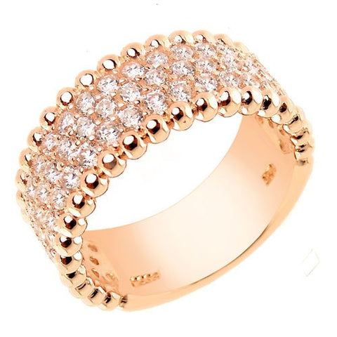 Sterling Silver Pave Rose Colored Coated Ring