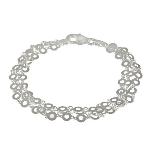 Sterling Silver Three Strands Shear  Bracelet
