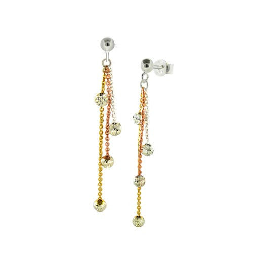 Sterling Silver Tri-Color Beads Dangle Earrings