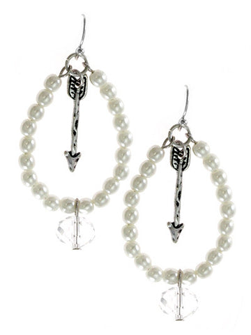 Arrow Tear Drop Pearl Dangle Earrings