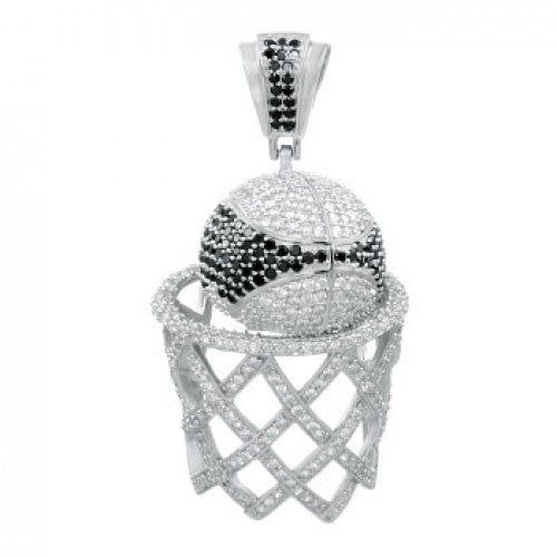 Sterling Silver Pave Setting Basketball Pendant