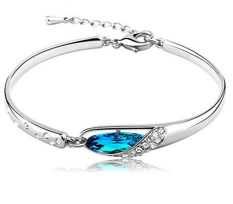 925 Sterling Silver Blue Austrian Crystal Bangle Bracelet