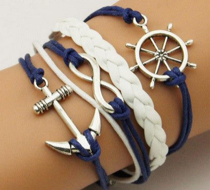 Blue Fashion Infinity Style Blue Rudder Anchor Leather Rope Bracelet Silver Nautical Vintage