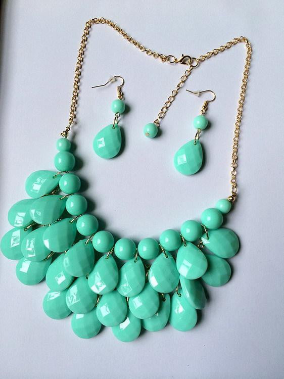 Bubble Bib Statement Necklace and Earring Set