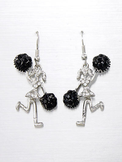 Cheerleader Dangle Earrings W/ Rhinestone