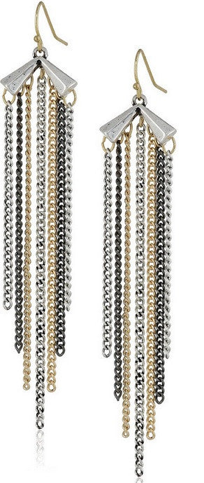 Chain Fringed Drop Earrings