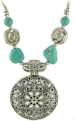 European Vintage Antique Silver Hollow Carving Flower Turquoise Pendant Necklace