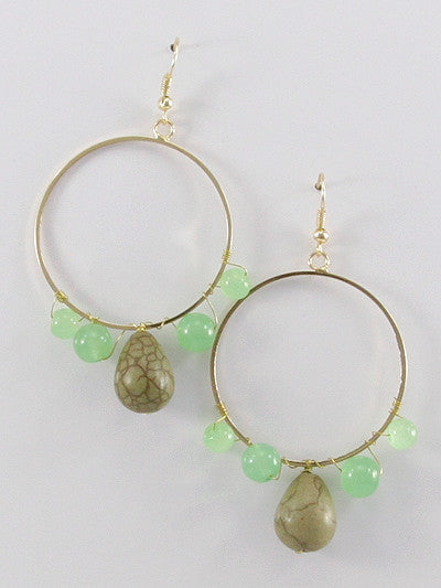 Round Gemstone Dangle Earrings