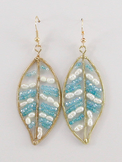 Leaf Seed Bead Accent Dangle Earrings