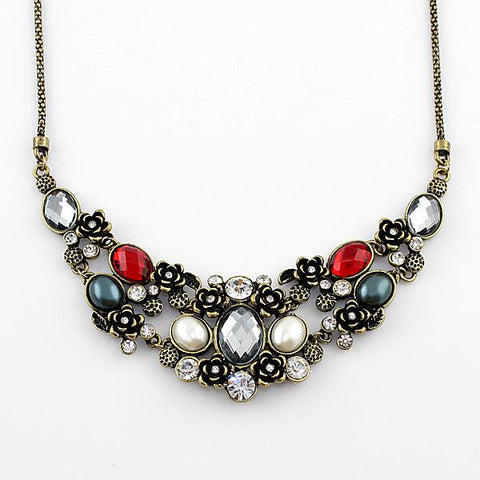 Antique Bronze Multi Color Rhinstone Necklace
