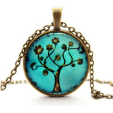 Life Tree Art Glass Pendant Necklace